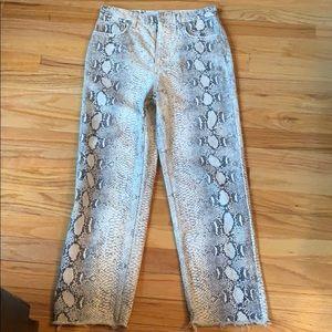 Zara White Snake Skin Print Cropped Jeans